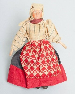 """Antique Russian Peasant Bisque Head Doll Made in Soviet Union Tag 6.5"""""""