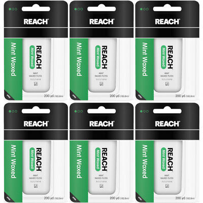 6 Pack Reach Mint Waxed Dental Floss - 200 yard Each