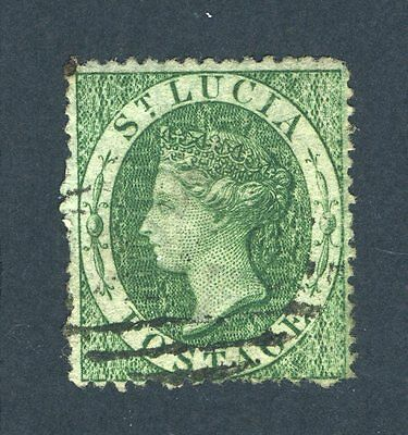 St Lucia 1860 QV. 6d green. Used. SG 3.