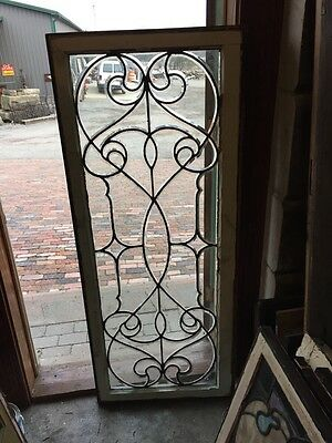 Sj 327 Groovy Antique Swirly Beveled  Glass Transom Large