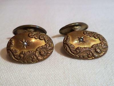 Antique Vintage Repousse Floral Pearl Gold Filled Cufflinks