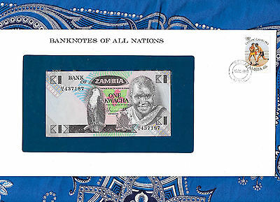 Banknotes of All Nations Zambia 1980 1 Kwacha P23a UNC Prefix 62/A
