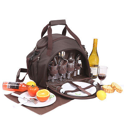 4Person Picnic Bag | Insulated | incl. all accessories | Chocolate Stripe