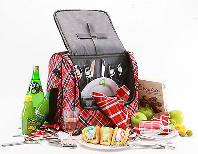 4Person Picnic Bag | Insulated | incl. all accessories | Red Tartan