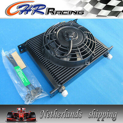 """30 Row An10 Fitting Heavy Duty Oil Cooler 7"""" Electric Fan Japan Tuning Cars"""