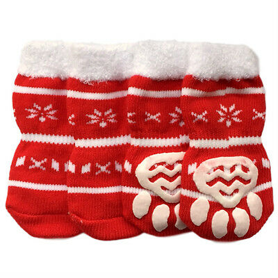 Dog Socks - Snowflake Design Winter Dog Socks - Pk 4 - RichPaw Non Slip S to XL