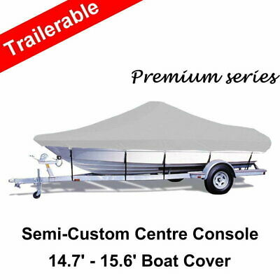 14.7-15.6ft 4.48-4.75m 600D Oxford Trailerable Centre Side Console Boat Cover G