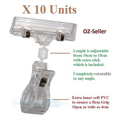 10x TALL CLIP SIGN HOLDER Clamp Pop Card Ticket  Price Display for Clothing Rack