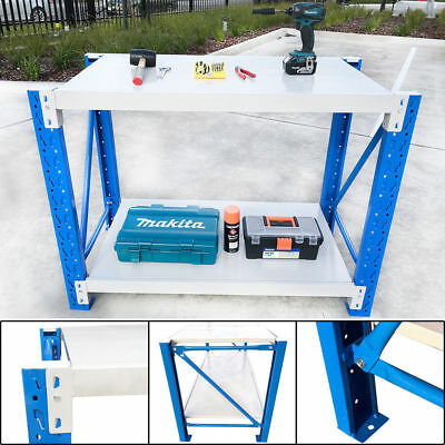 1.2Mx0.9M Warehouse Metal Workbench Garage Rack Stand Work Bench Shelf-Blue+Grey