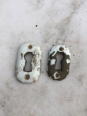 One Pair Antique Milk Glass Key Holes For Entrance Door