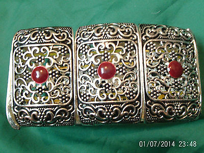 Moroccan Berber Ethnic Jewelry:Bracelet Silver coloured Expandable Chocolate NEW