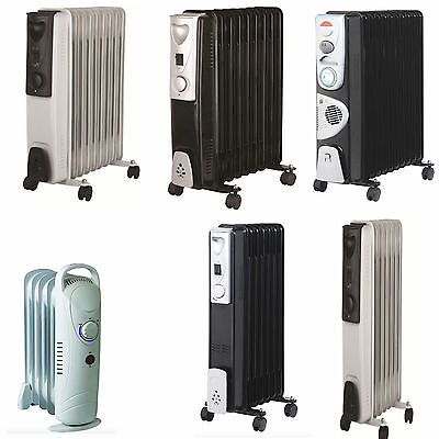 5/7/9/11 Fin Oil Filled Portable Electric Radiator Heater Adjustable Thermostat
