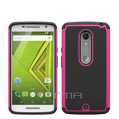 Motorola Moto X Play Rugged Rubber Impact Hybrid Shock Proof Case Cover - Pink