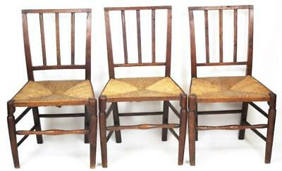Set of 3 Antique Arts & Crafts Oak Dining Chairs with Rush Seat -FREE P&P [1786]