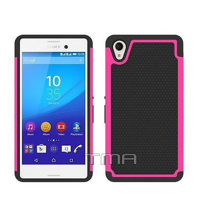 Sony Xperia M4 Aqua Rugged Rubber Impact Hybrid Shock Proof Case Cover - Pink