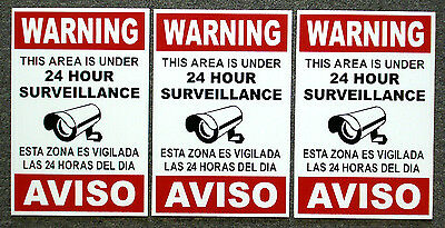 3 Security Video Surveillance Warning 24 Hr Coroplast Signs 8x12 Spanish English