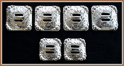 """Saddle Set >> 4 - 1 1/2"""" & 2 - 1 1/4"""" Hand Engraved Slotted Silver Conchos"""