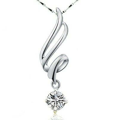 "Sterling Silver Dancing Cubic Zirconia Pendant Necklace 18"" Chain Gift Box L12"