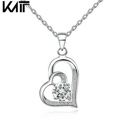 """18/"""" Chain Sterling Silver Cubic Zirconia Love Heart Pendant Necklace Gift Box L7"""