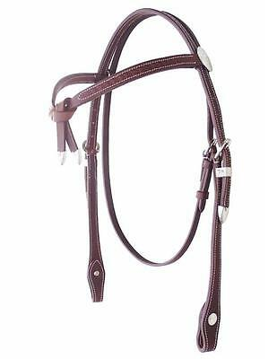Brown Basket Weave Leather Western Knot Bridle with Reins Cob, Full Size