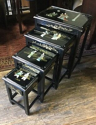 Antique Chinese (4) Nesting Tables Jade And Soapstone Carved