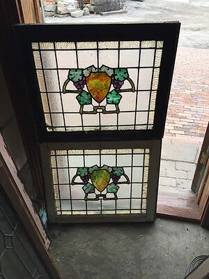Sg 346 2 Matching Antique Arts And Craft Grapes And Grape Leaves Windows