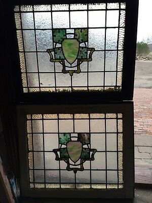 Sg 347 Matched Pair Arts And Craft Leaf Design Windows