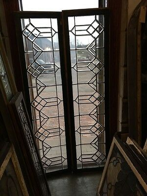 Sg 358 Matched Pair All Beveled Glass Transom Windows Arts And Craft Design