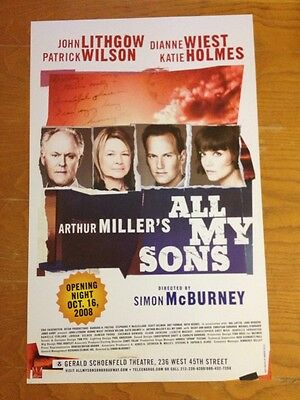 ALL MY SONS John Lithgow Katie Holmes OPENING NIGHT Window Card Poster MINT