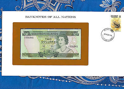 Banknotes of All Nations Solomon Islands 2 Dollars 1977 P 5 UNC Birthday 1941