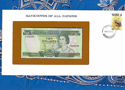 Banknotes of All Nations Solomon Islands 2 Dollars 1977 P 5 UNC Fancy 525255