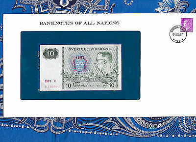 Banknotes of All Nations Sweden 10 Kronor 1979 serie X P52d UNC BIRTHDAY 1988