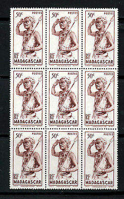 (Ref-5984) Madagascar 1946  50c Native with Spear  SG.299   Mint Block   (MNH)
