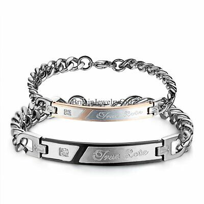 True Love  Stainless Steel His and Hers Couple Bangle Bracelet Valentine Gift