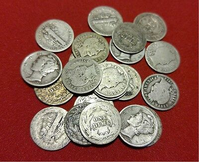 Mercury and Barber Silver Dime CULL Coins // 1892-1945 // 90% Silver // 1 COIN