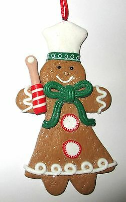 Boutique GINGERBREAD Girl Candy BAKER Resin Christmas Ornament NWT New