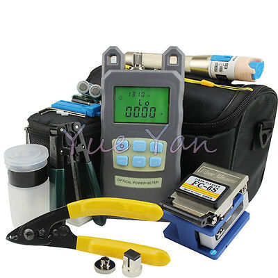 9 In 1 Fiber Optic FTTH Tool Kit FC-6S Fiber CleaverOptical Power Meter 5KM VFL