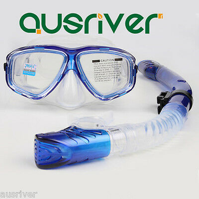 Diving Swimming Scuba Snorkeling Tempered Glass Mask Flexible Breath Tube