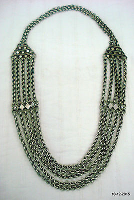 vintage antique collectible tribal old silver chain necklace handamde jewellery