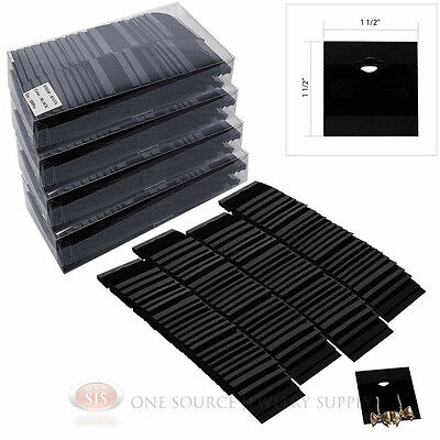 """(500) Black Flocked Hanging Earring Cards 1 1/2"""" x 1 1/2"""" Jewelry Presentation"""
