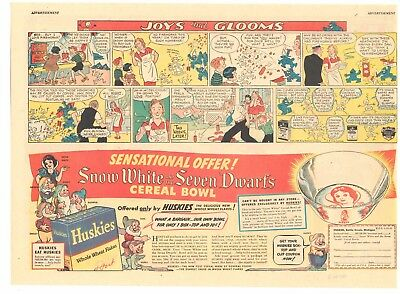 1938 - Huskies SNOW WHITE Cereal Bowl - Camel Cigarettes UNDER THE BIG TOP - ads