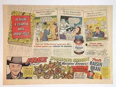 1951 - HOPALONG CASSIDY Western Badges newspaper ad POST Cereal - FRED MacMurray
