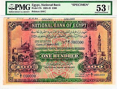Egypt 1921 100 Pounds Specimen First Series K1 Pmg53 Priced To Sell Fast !