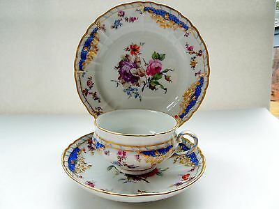KPM Cup Saucer Plate Trio Breslau Polychrome Flowers Bouquets Insects Gilded