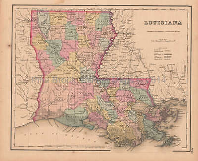 Louisiana Antique Map Colton GW 1857 Original