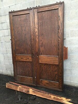 Dz 1  1set Antique Two Panel Flat Oak Pocket Doors With Tracking And Wheels