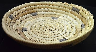 "OLD VINTAGE Genuine PAPAGO Indian Basket HAND-WOVEN 8"" w/ paper description"
