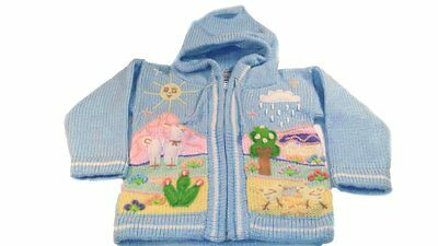 Unisex Children's Sweaters Hooded Zip Up Hand Knit 3D Embroidered Winter Apparel