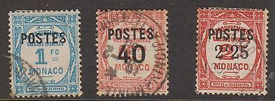 (OI-67) 1937 Monaco mix of 3 Postage Dues surcharged O/P 40c &2F.25