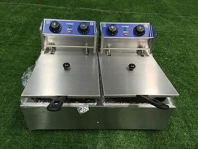 Brand New Commercial 20L Double Electric Deep Fryer Twin Pan 2 X 6L